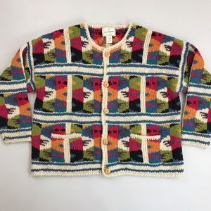 EXPRESS Tricot Patchwork Wool Cardigan